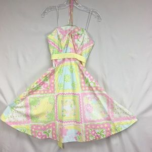 Lilly Pulitzer Patchwork Halter Fit n Flare Dress
